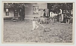 Push Reel Lawn Mower Child Vintage Photo Horse Drawn Buggy Steam Tractor Rural