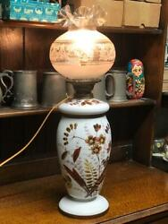 Vintage Large Porcelain Jar Table Lamp With Hurricane Etched Glass Shade [6701r]