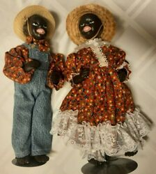 2 Hard Plastic Vintage Dolls 13 Ethnic Black Ma And Pa Stands Included