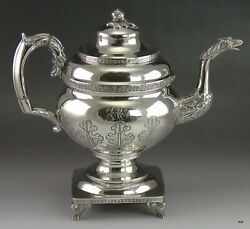 1816-1818 Large Antique American Coin Silver Coffee Teapot Whartenby And Bumm