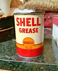 Shell Grease 1 Lb. Can Double Side Canco Gas Oil Vintage Advertising
