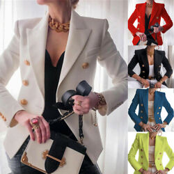 Womens Double Breasted Button Front Military Style Blazer Ladies Formal Jacket