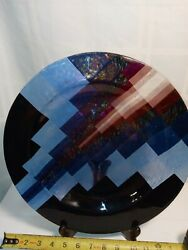 Hand Blown Glass Art Plate Signed By C Potter. Black And Blue Geo Design 14 In