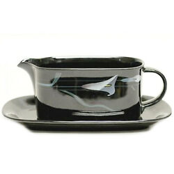 Mikasa Opus Black Gravy Boat And Stand Made In Japan Fk701 New Never Used
