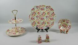5pc Lot Of Royal Winton China Summertime Serving Pieces Cake Plate,tidbit+++