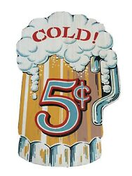 Vintage Cold Beer 5 Cents - Wooden Sign Very Rare Yorkraft 1969