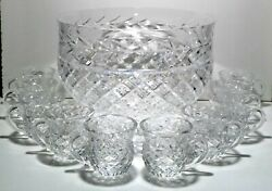 Vintage Waterford Crystal Master Cutter Massive Punch Bowl And Cup 10 Piece Set