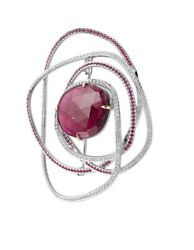 3.45ct Natural Round Diamond 14k Solid White Gold Ruby Gemstone Brooch Pin