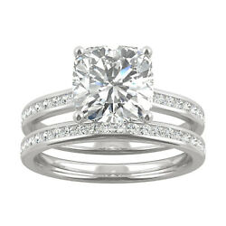 White Gold Moissanite By Charles And Colvard 8.0mm Cushion Ring Set, 2.77cttw Dew