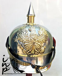 New Brass And Steel German Pickelhaube Spiked Helmet Wwi Reproduction
