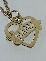 Nana Heart Pendant Necklace Vintage 9ct Yellow Gold 2.7g 19 1/2 Rope Chain