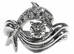 Dolphin Engagement Ring, Diamond Center 45pts. In 14kt. Gold