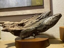 Rare Rick Cain Limited Edition Whale And Driftwood Sculpture Great Office Art