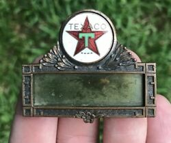 Antique Brass And Enamel Texaco Gas/oil Advertising Service Station Name Badge