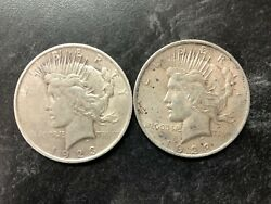 2 1923 P United States Genuine Silver Peace Dollars