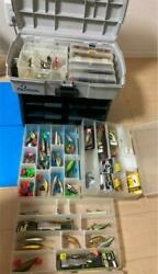 Tackle Box All Lure Many Worms Bass Fishing Retired