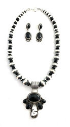 Native American Sterling Silver Navajo Black Onyx With White Buffalo Necklace