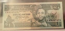 1976 1 One Birr Ethiopia Currency Unc Banknote Note Money Bank Bill Cash Africa