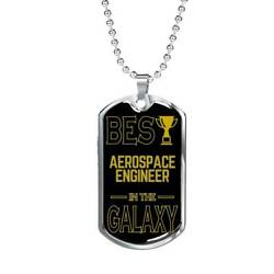 Best Aerospace Engineer In The Galaxy Necklace Stainless Steel Or 18k Gold Dog T