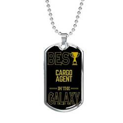 Best Cargo Agent In The Galaxy Necklace Stainless Steel Or 18k Gold Dog Tag W 24