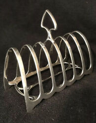 Antique Solid Silver Gothic Style Toast Rack. Sheffield 1919.