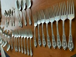 41 Pc Sterling Silver Flatware Silverware Set Rose Point By Wallace
