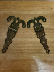 Antique Victorian Two 2 Brass Hinges