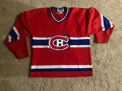 Ccm Youth Size Large Montreal Canadiens Hockey Jersey Red Blue Nhl Striped