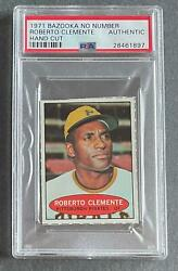 1971 Bazooka No Number Roberto Clemente Hand Cut Psa Auth