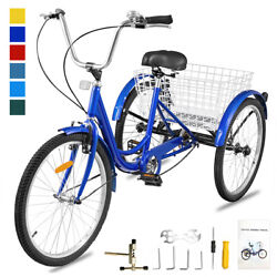 Blue 20and039and039 7 Speed Adult Trike Tricycle 3-wheel Bike Bicycle W/basket And Backrest
