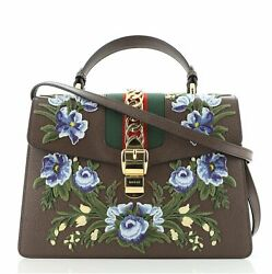 Sylvie Top Handle Bag Embroidered Leather Medium