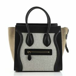 Celine Tricolor Luggage Bag Canvas And Leather Micro