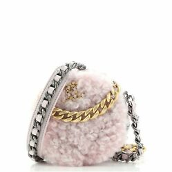 19 Round Clutch With Chain Quilted Shearling
