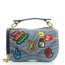 Louis Vuitton New Wave Chain Bag Limited Edition Patches Quilted Denim Mm