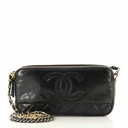 Cc Double Zip Clutch With Chain Quilted Glazed Aged Calfskin