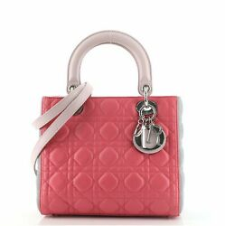 Christian Dior Tricolor Lady Dior Bag Cannage Quilt Leather Medium