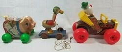 Fisher Price Wooden Pull Toys Jalopy 724 Cookie Pie 476 Duck Vintage Antique