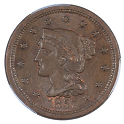 1857 Braided Hair Cent, Large Date Pcgs Ms64bn Cac