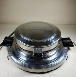 General Electric Waffle Iron Maker Vintage Round 119y192 Retro Needs Cleaning