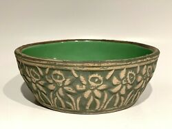 1920s Redwing Pottery Daffodil Embossed 6-1/4 Low Bulb Bowl Green Stoneware