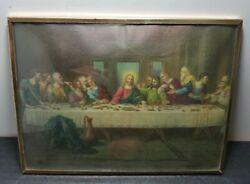 Vintage Brunozetti Last Supper Print Domed Glass Metal Frame Signed 8 X 6 Rare