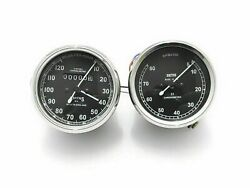 New, Speedometer And Tachometer Set In Black Body For Smith Replica 0-120 Miles