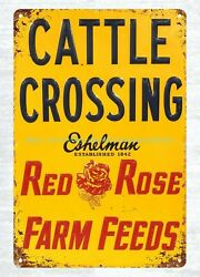 Red Rose Cattle Crossing metal tin sign metal chicken signs