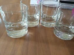 4 Crown Royal 8oz Lowball Round Rocks Glasses Etched Made In Italy Whiskey