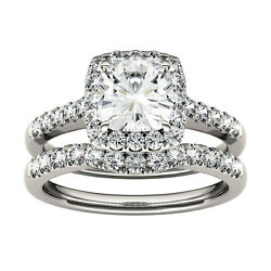 Moissanite By Charles And Colvard Cushion Halo Bridal Set, 1.89cttw Dew