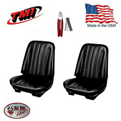 1966 Chevelle Coupe Front/rear Seat Upholstery Black Vinyl And Hog Ring Pliers Kit