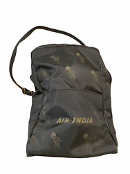 Vintage Air India Airline Flight Bag Tote Bag With Strap Zipper Top Black Guc