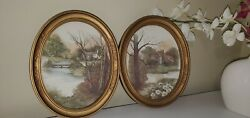 Homco Home Interior Set Of 2 Cottage Pictures Gold Oval Embossed Frame