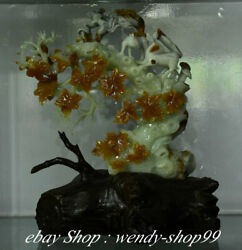 17 Chinese Natural Green Xiu Jade Carved Squirrel On Branch Statue Decorate