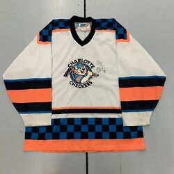 Vintage 90s Jebco Charlotte Checkers Team Autographed Hockey Jersey Mens Size Lg